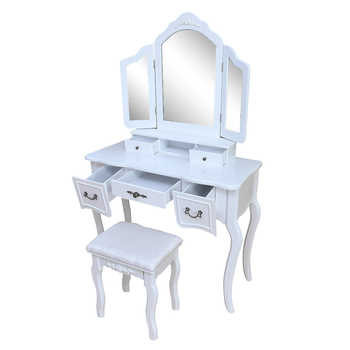 European Style Woman Makeup Dressers Bedroom Tri-fold Mirror Dresser With Dressing Stool White Chair Set MDF Dressing Table