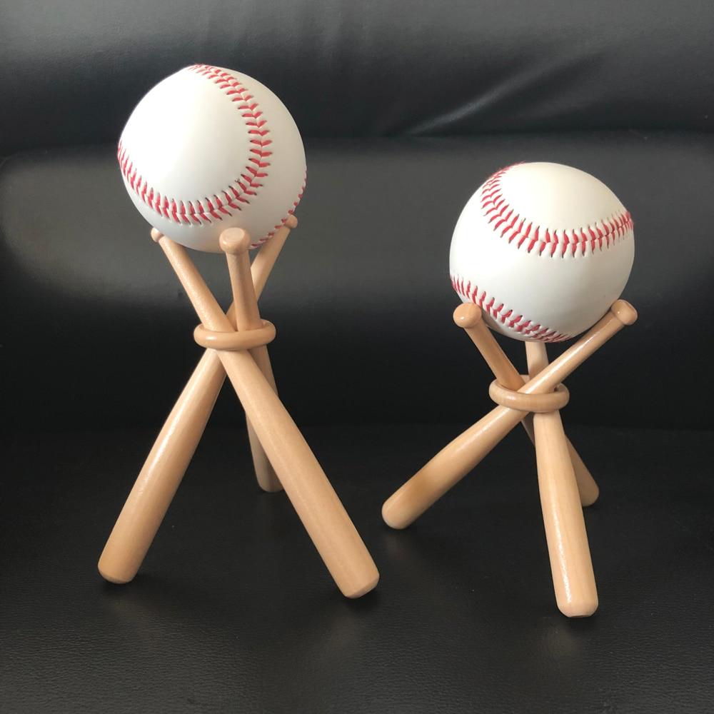 1 Set Mini Wood Baseball Bat Golf Tennis Ball Display Base Stand Bracket Souvenir Ball Storage Holder Support