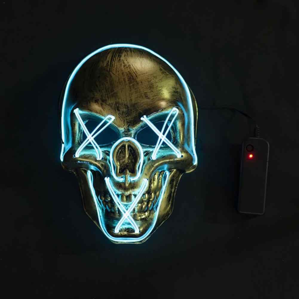 Halloween Mask LED Menakutkan Kematian Tengkorak Masker dengan Sumber Cahaya Dingin untuk Pesta Kostum Halloween Masquerade