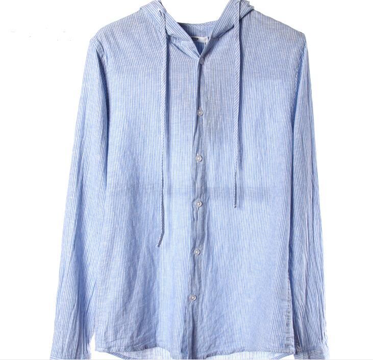 Chemise de plage avec capuche lin mince manches longues Blouse hommes chemise d'été