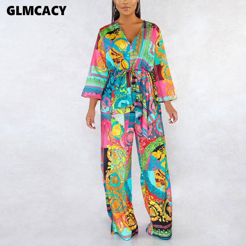 Women Plus Size Two Piece Matching Sets Flora Printed Long Sleeve Top & High Waist Bodycon Wide Leg Pants Casual Suit
