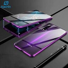 Kılıf için Huawei Nova 5T durumda manyetik Metal 360 çift temperli cam darbeye dayanıklı arka sert tampon kapak için Huawei onur 20 Case