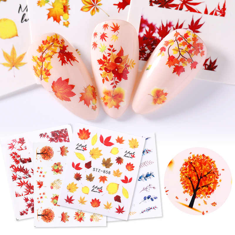 1 Vel Fall Geel Goud Bladeren Nail Stickers Nail Art Herfst Water Decals Marple Leaf Wraps Nail Art Diy Ontwerp decoratie