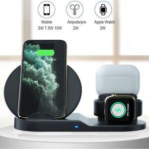 Image 2 - 3 IN 1 QI Drahtlose Ladegerät für iPhone 11 PRO Max Apple Uhr iWatch 1 2 3 4 5 Airpods pro 10W Schnelle Wirelss Ladegerät