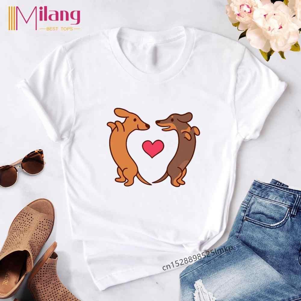 Vrouwelijke T-shirt Teckel Kawaii Streetwear Tees Vrouwen T-shirt Mode Hond Grafische T Shirts Korte Mouw Harajuku Ropa Mujer
