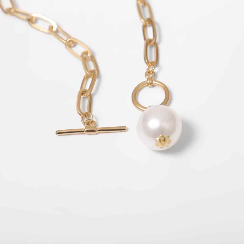 Gótico barroco pérola pingente gargantilha colar para casamento feminino punk grande grânulo lariat ouro cor longa corrente colar jóias
