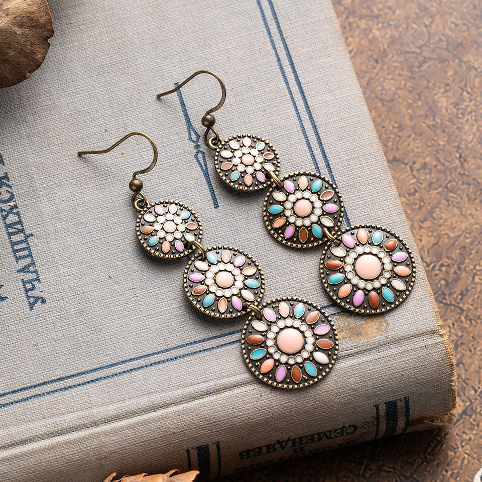 Ethnic Boho Vintage Round Silver Color Long Earrings For Women Female Fashion 2020 Hanging Drop Dangle Jewelry Accessories Gift