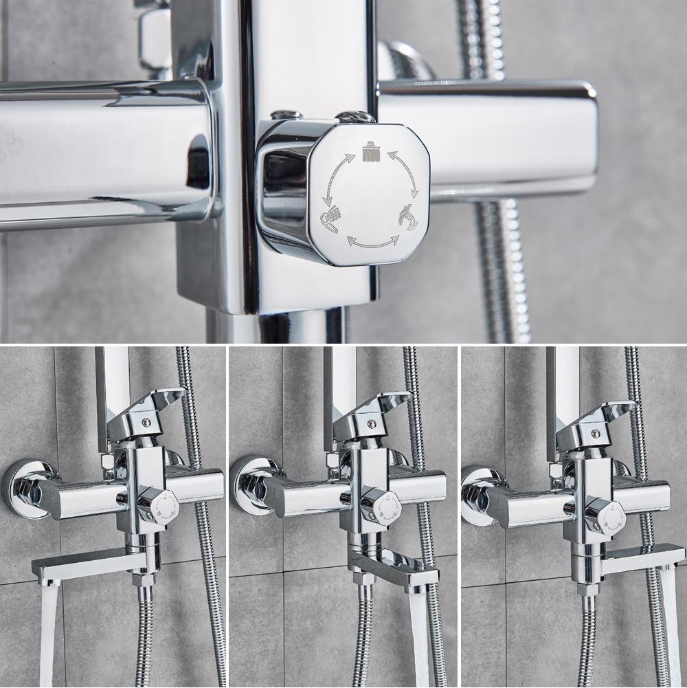 Hb3f8b6a581c74ec4b8449a5cdd39a894j POIQIHY Black Bathroom Shower Faucet Set Wall Mount Black 8''Rainfall Shower Head With Handheld Sprayer Bathtub Shower Mixer