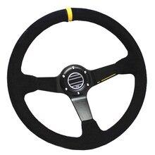 Volante de carreras de cuero de ante de 350mm, volante deportivo Universal de Raya Rosa amarillo para coche, marco de aluminio con logotipo