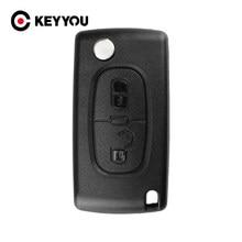 KEYYOU 20x reemplazo 2 botón remoto plegable funda de control remoto de coche de hoja para Citroen C2 C3 C4 C5 C6 C8 CE0536 No ranura