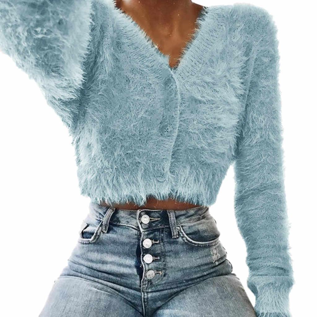 SAGACE 한국어 우아한 숙녀 솔리드 컬러 스웨터 여성 패션 v 넥 긴 소매 모피 캐주얼 스웨터 자르기 인기 여성 탑스