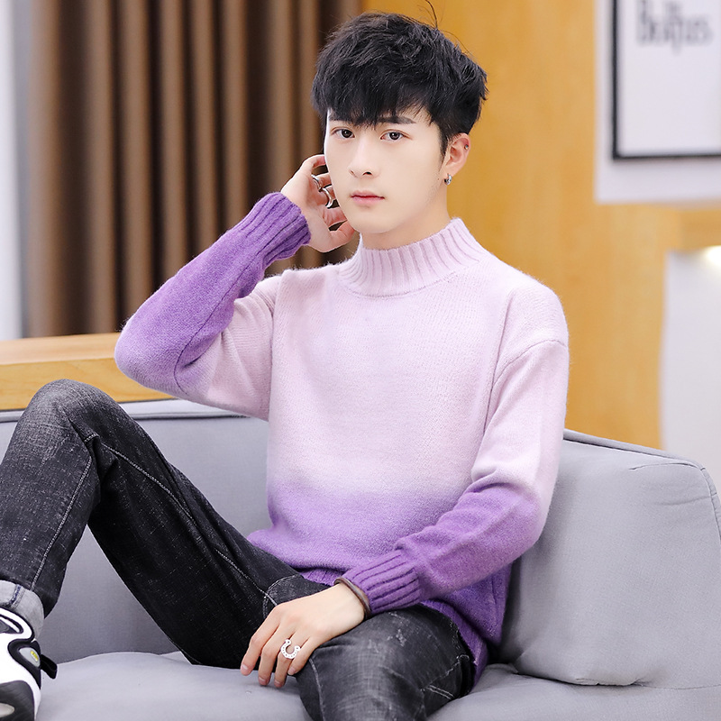 Pink Mens Sweaters Long Sleeves Yellow Green Red Blue Gradation Winter New Fashion Pullovers O-Neck Casual Men Sweater