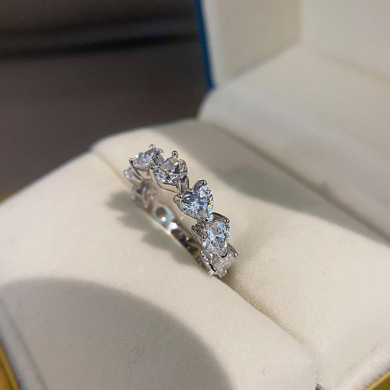간단하고 우아한 8*10mm 6 캐럿 높은 탄소 aaaaa + 지르콘 engagment 결혼 반지 여성 gilrs 925 스털링 실버 주얼리