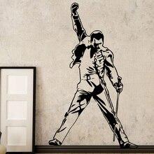 Vintage reina Freddie Mercury pegatinas de pared de vinilo música de banda de Rock casa decoración salón decoración dormitorio calcomanías de decoración de pared G971