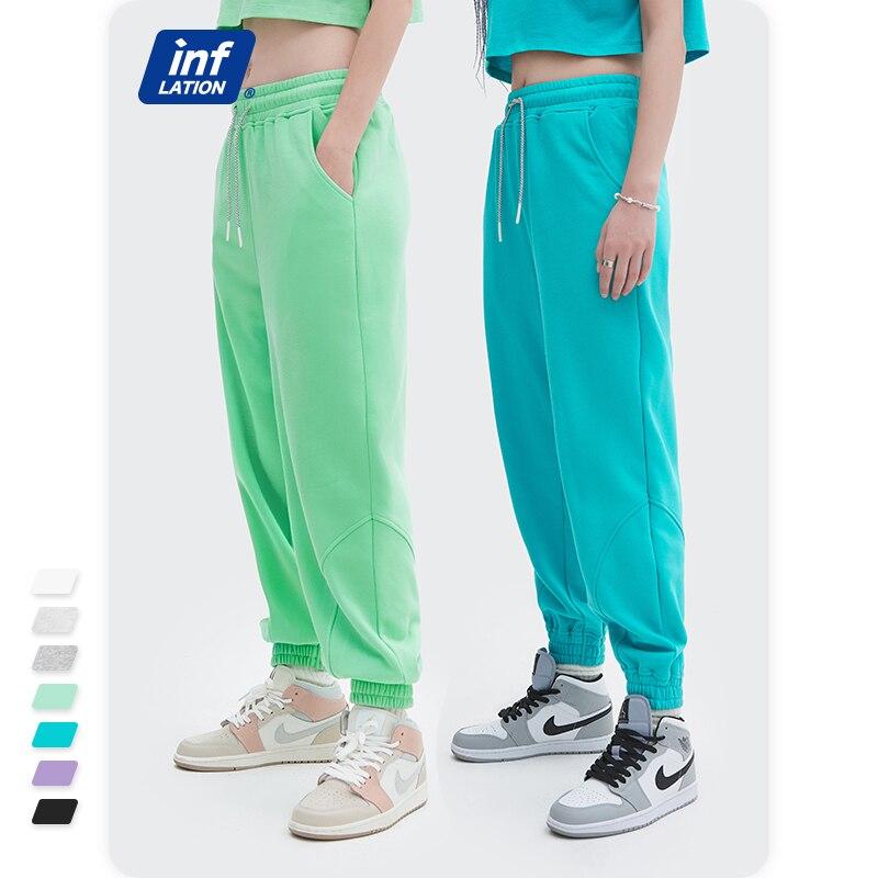 INFLATION Mens Comfy Cotton Sweatpants With Pocket 2021 Sporty Loose Fit Joggers Pants Unisex Workout Lounge Pants 6051GS21