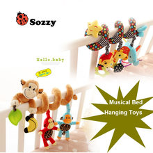 Sozzy baby Rattle Stuffed Plush Doll 30CM Musical Sound Bed hanging Toy Toys Bell Ring Infant Monkey and Star animal family(China)