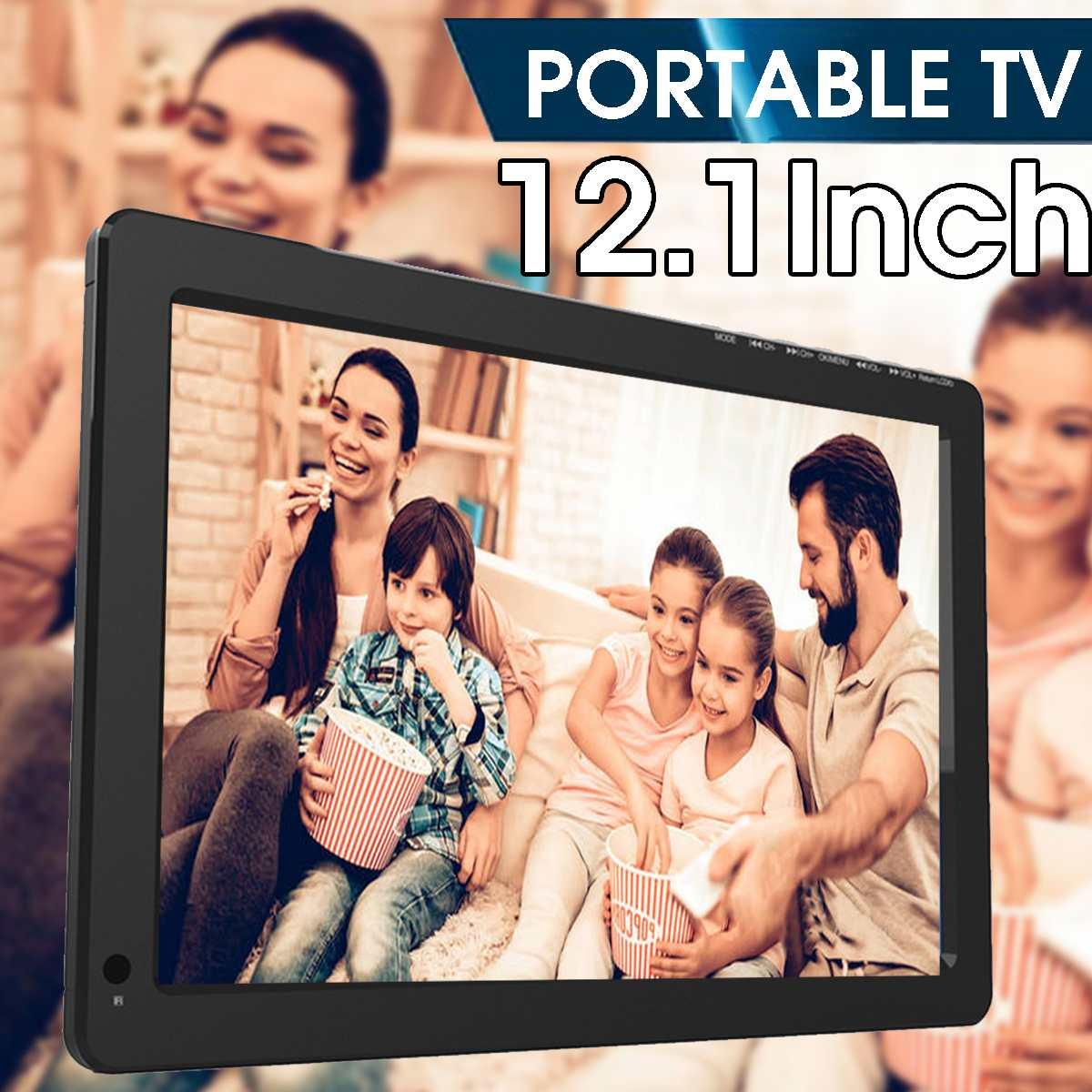 12V 18W 12.1 Inch Portable Digital Analog Mini TV DVB-T / DVB-T2 TFT LED 1080P HD Car TV Support TF Card USB Audio Eu Plug