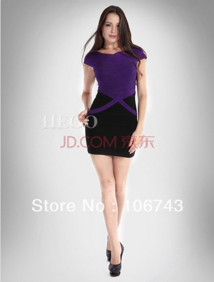 Free Shipping 2016 New Fashion Vestidos Formal Dress Party Prom Gown Bandage Cap Sleeve Short Purple And Black Cocktail Dresses