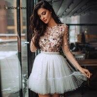 Elegant Homecoming Dress Crystal Beaded Short Party Dress Jewel Neck Full Sleeves Sparkly Homecoming Dresses vestido de festa