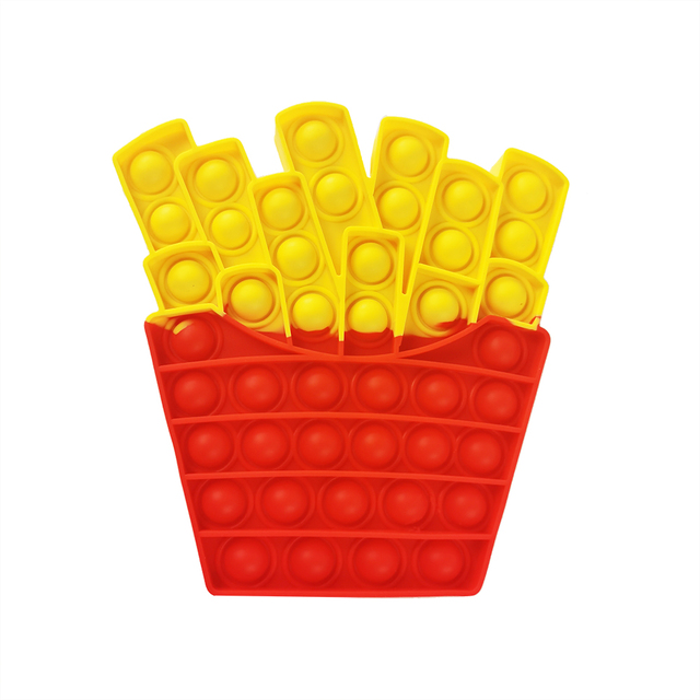 French fries Food Simple Fidget Toy Push Bubble Stress Sensory Toy Relief Anti-stress Hand Game Toys 2