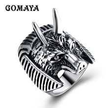 GOMAYA 316L Stainless Steel Dragon Lion Ring Biker Style Men Boy Fashion New Animal Head Bague