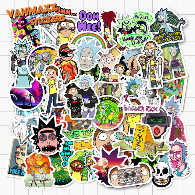 VANMAXX 50/85 Pieces Cartoon Rick and Morty Stickers Waterproof Vinyl Decal for Laptop Helmet Bicycle Luggage Toy Car Stickers