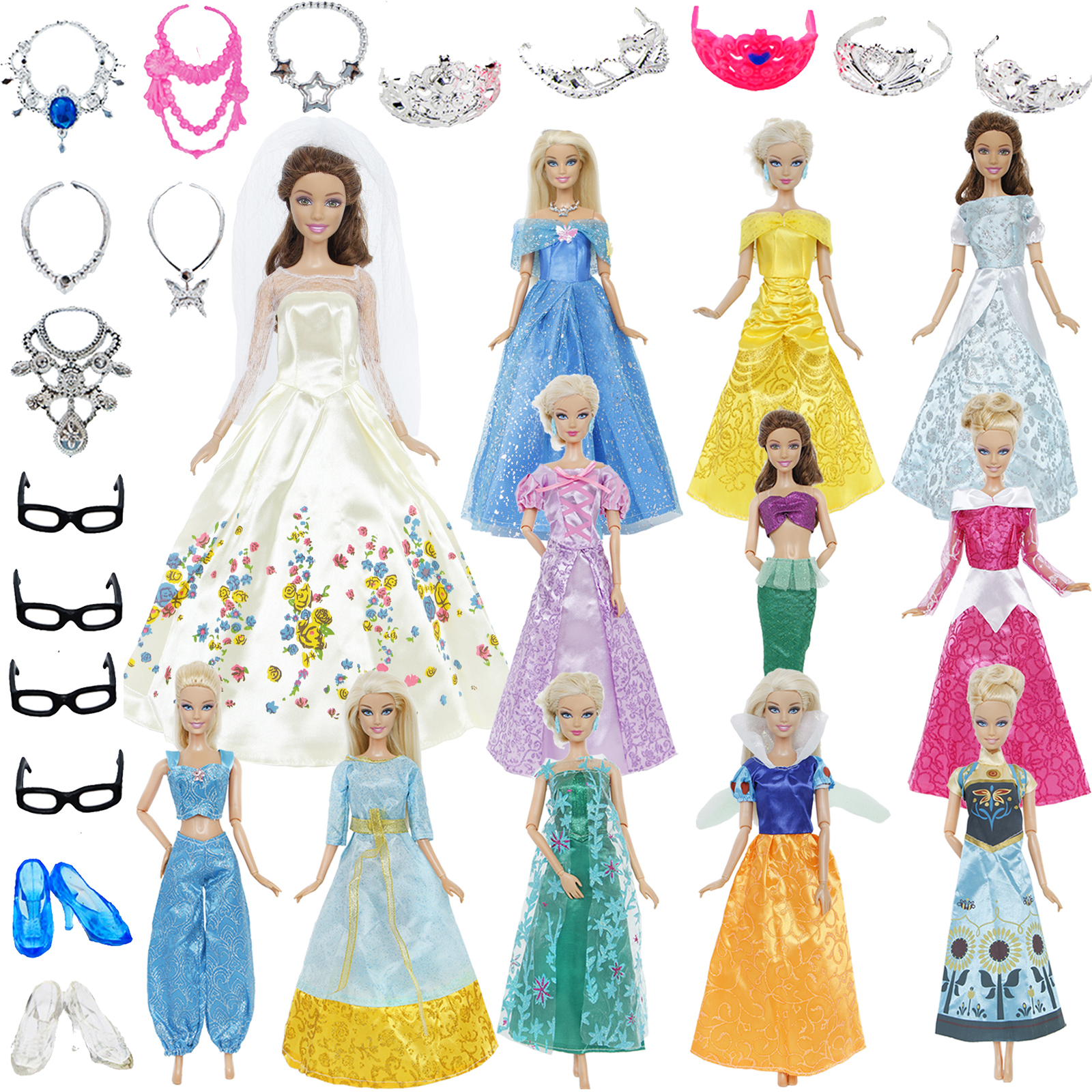 2x Dresses / Plastic Jewelry Toy Fairy Tale Ball Gown Cartoon Princess Accessories For Barbie Doll Clothes For Frozen For Belle