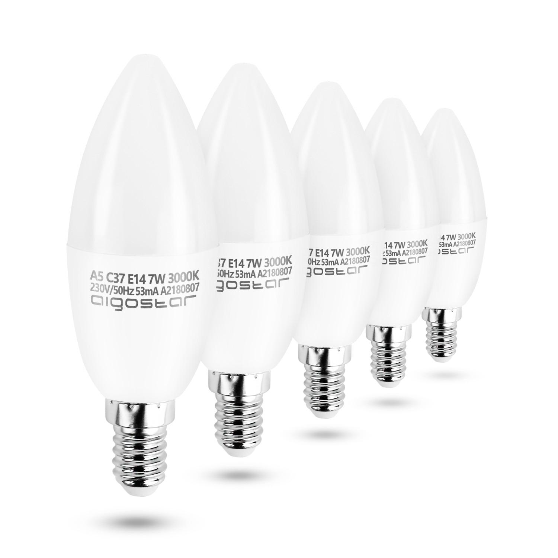Aigostar - LED  C37 Candle Bulbs,  E14, 7W Equivalent To 52W Incandescent Lights, 270°, 490 Lm, CRI≥80,3000K Warm LighT ,25000h