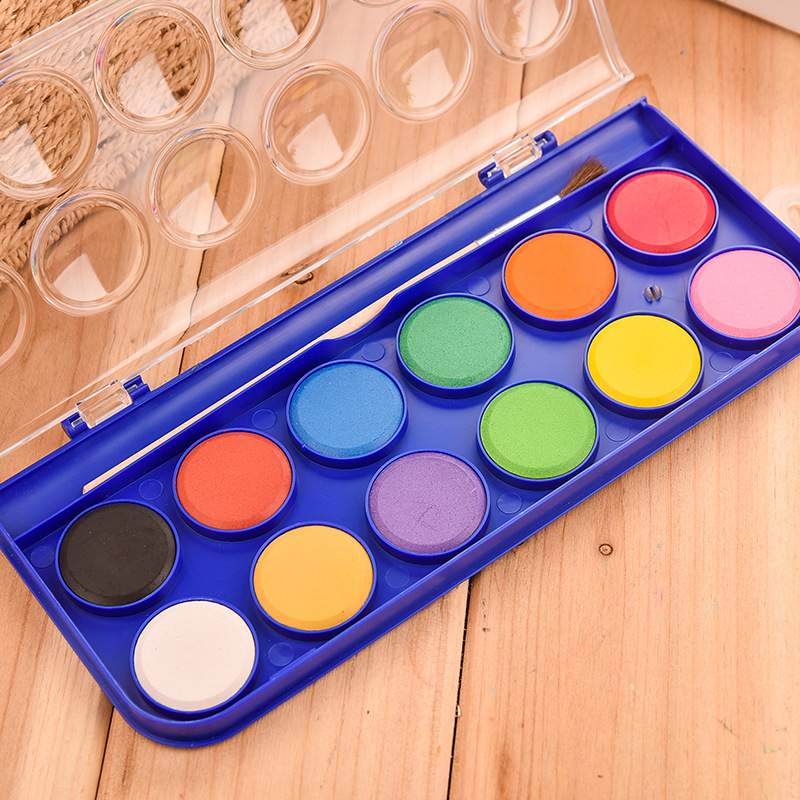 watercolor palette paint Solid Watercolor Paint Set With Paintbrush Bright Color Painting Pigment Set For Student Art Supplies in Water Color from Office School Supplies
