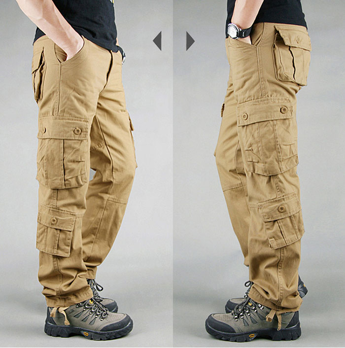 FALIZA Men's Cargo Pants Multi Pockets Military Style Tactical Pants Cotton Men's Outwear Straight Casual Trousers for Men CK102 38