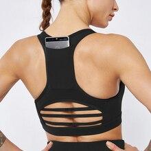 Sexy Gym Bra With Back Pocket Absorb Sweat Tops Yoga Running Sports Bra Fitness Women Seamless Backless Mesh Padded Vest Tanks цены онлайн