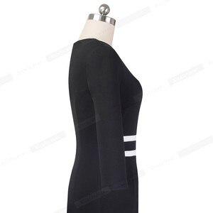 Image 4 - 素敵な 永遠にヴィンテージ黒と白のパッチワークオフィスワークvestidosビジネスパーティーボディコンエレガント女性秋ドレスB563