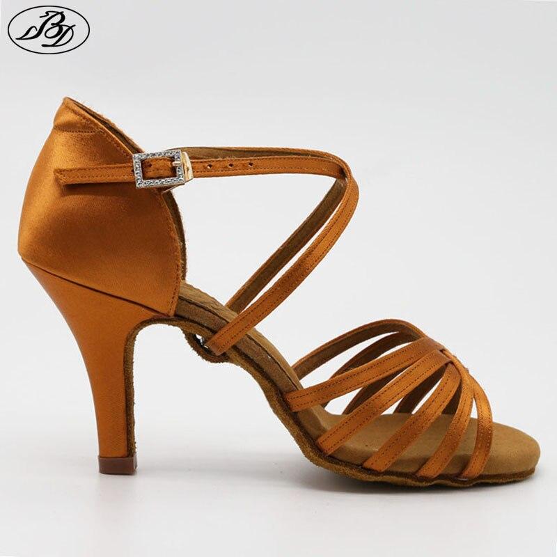 Nouveau femmes Latin BD danse chaussure 216 Satin sandale dames Latin danse chaussures talon haut semelle souple talon droit strass boucle
