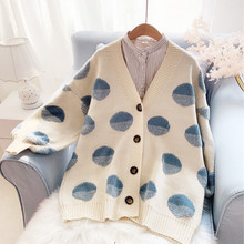 Milinsus Women Polka Dot Cardigans Sweater Coat Loose Lantern Sleeves 2019 Autumn Winter Clothes Korean Style Knitting Cardigan платье madam t madam t mp002xw12bqw