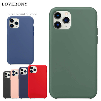 LOVERONY Real Liquid Silicone Case For Apple iPhone SE 11 Pro XR XS MAX Back Cover Luxury Logo Case For iPhone 7 8 Plus Capa
