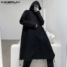 Mens Jackets Ponchos Irregular-Coats Hooded Trench-Streetwear Long-Sleeve INCERUN Fashion