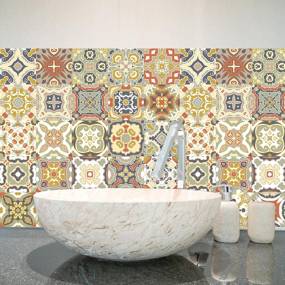 Jaune Mandala motif ornement Floral carreaux de céramique autocollant mural escalier cuisine décor à la maison stickers muraux Peel & Stick Art papier peint