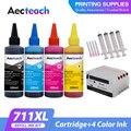 Aecteach новый совместимый картридж Замена для HP 711 XL перезаправляемый картридж с чернилами HP Deskjet T520 T120 чернила для принтера