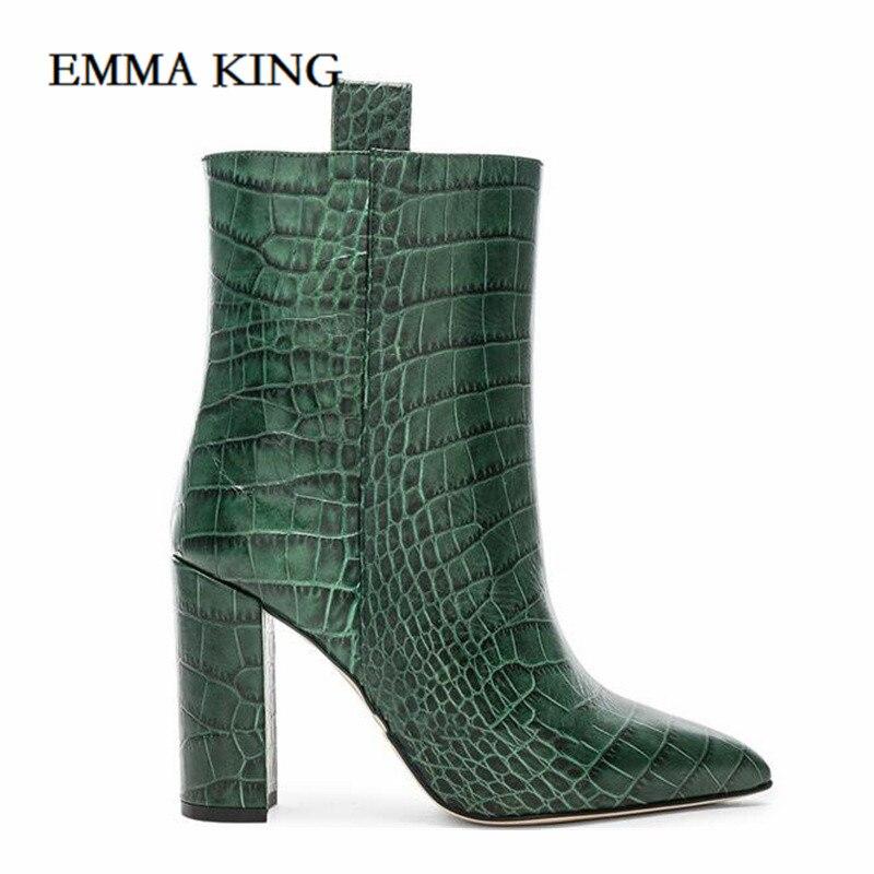Women Pointed Toe Block Heel Ankle Boots Western Cowboy Boots Crocodile Pattern Female Fashion 2019 New Bota Plus Size 43