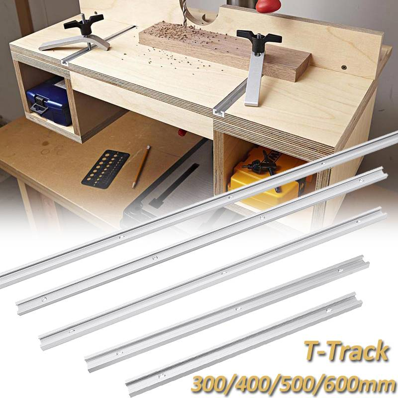 300/400/500/600MM Aluminium Alloy T-track Slot Miter Track Jig Fixture For Table Bandsaws T-track Slider Woodworking DIY Tool