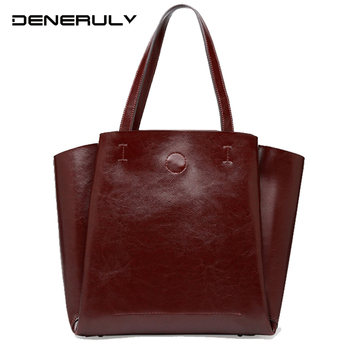 2019 Genuine Leather Bag Women Luxury Designer Shoulder Bags High Capacity Cowhide Split Handbags Quality Set Pure Top-handle [hely coptar] genuine grain leather designer fashion trapeze style top handle women bag khaki high quality luxury designer real