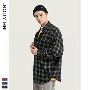 Image 5 - INFLATION Autumn Men Checked Shirt Long Sleeve Oversized Men Plaid Shirt Streetwear Mens Fashion Loose Fit Cotton Shirt  004W17