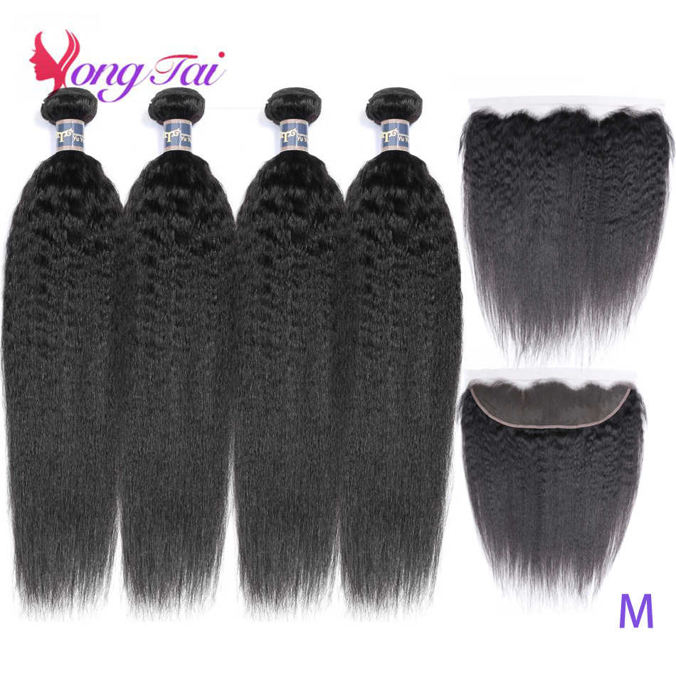 YuYongtai Hair Weave 4 Bundles With Lace Front Brazilian Kinky Straight Hair 100% Human Hair Medium Ratio Non-Remy Hair