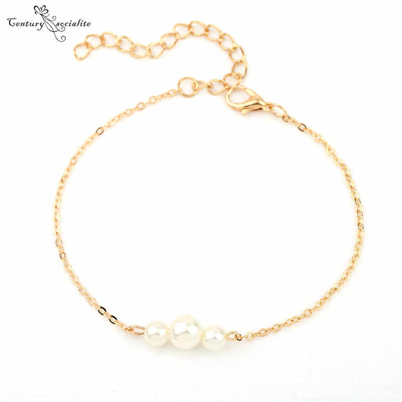 2019 Simple Pearl Bracelets For Women Fashion Sweet Simulated Jewelry Bracelets Bangles In Stock Cheap