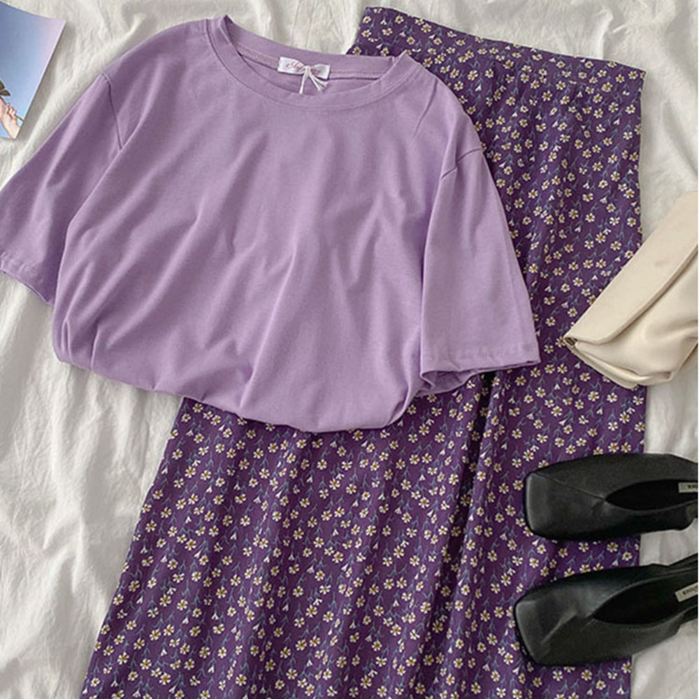 Elegant Summer Purple Matching Set Women Casual Short Sleeve Loose T-shirt + High Waist Floral Maxi Skirt Two Pieces Set