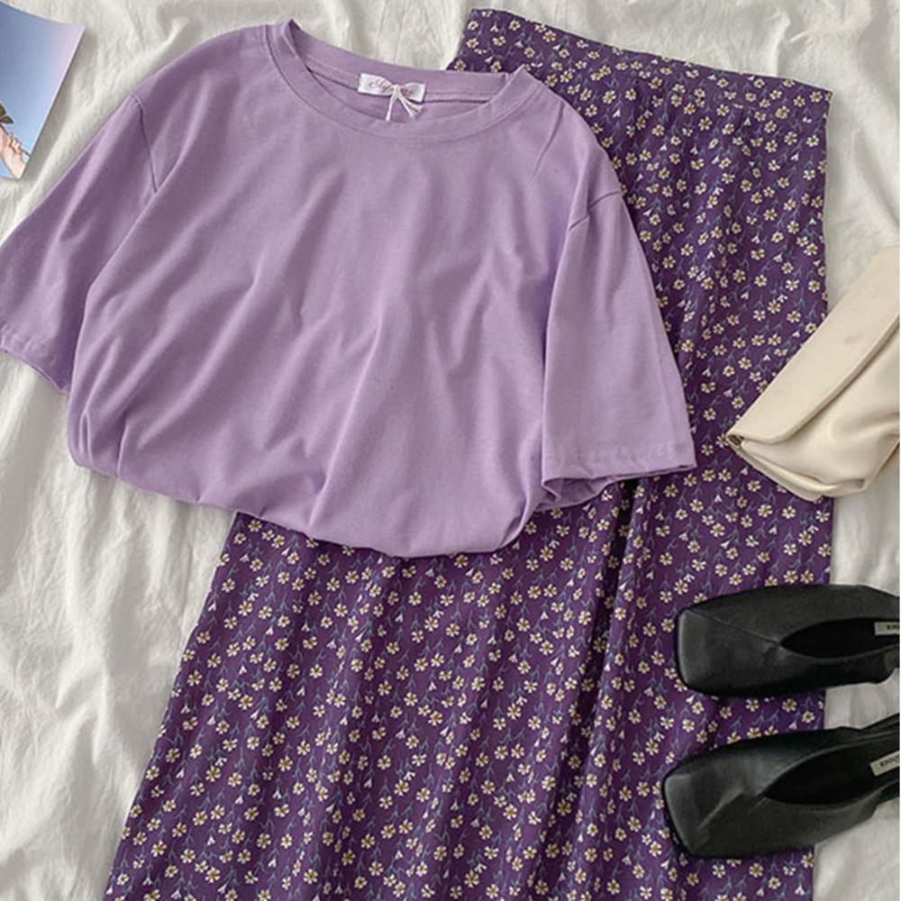 Elegant Summer Purple Matching Set Women Casual Short Sleeve Loose T-shirt + High Waist Floral Maxi Skirt Two Pieces Set