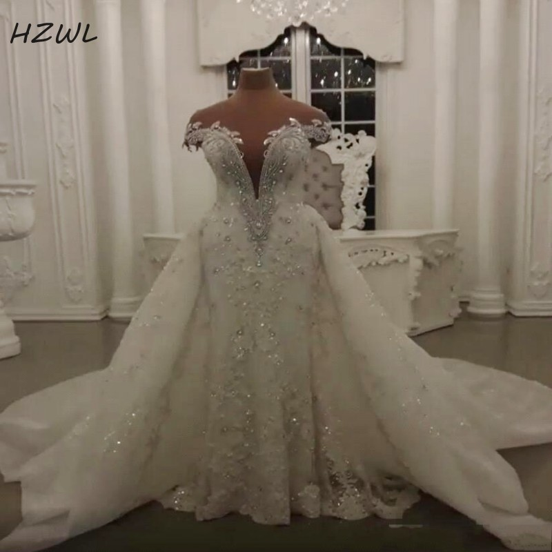 Luxury Mermaid Overskirts Wedding Dresses With Beads Crystals Lace Appliques Bridal Dress Illusion Back Sexy Vestido De Noiva