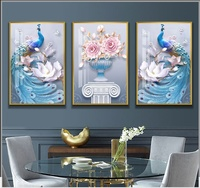 3/set Traditional Chinese Style Peacock Wall Painting Framed Flower Wall Art Prints Living Room Decoration