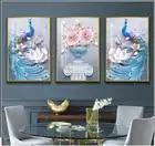 3/set Traditionele Chinese Stijl Pauw Muur Schilderij Ingelijst Bloem Wall Art Prints Woonkamer Decoratie