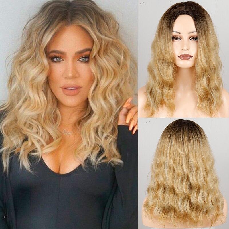 Moda feminina médio longo ondulado loira peruca ombre loira marrom sintético resistente ao calor peruca de fibra para mulher